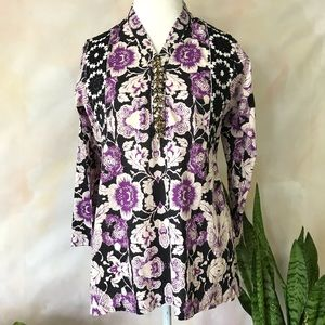 Purple Black Boho Tunic Vneck Blouse